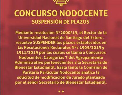 Suspensión de Plazos- Concurso Categoría 7- Secretaría de Bienestar Estudiantil