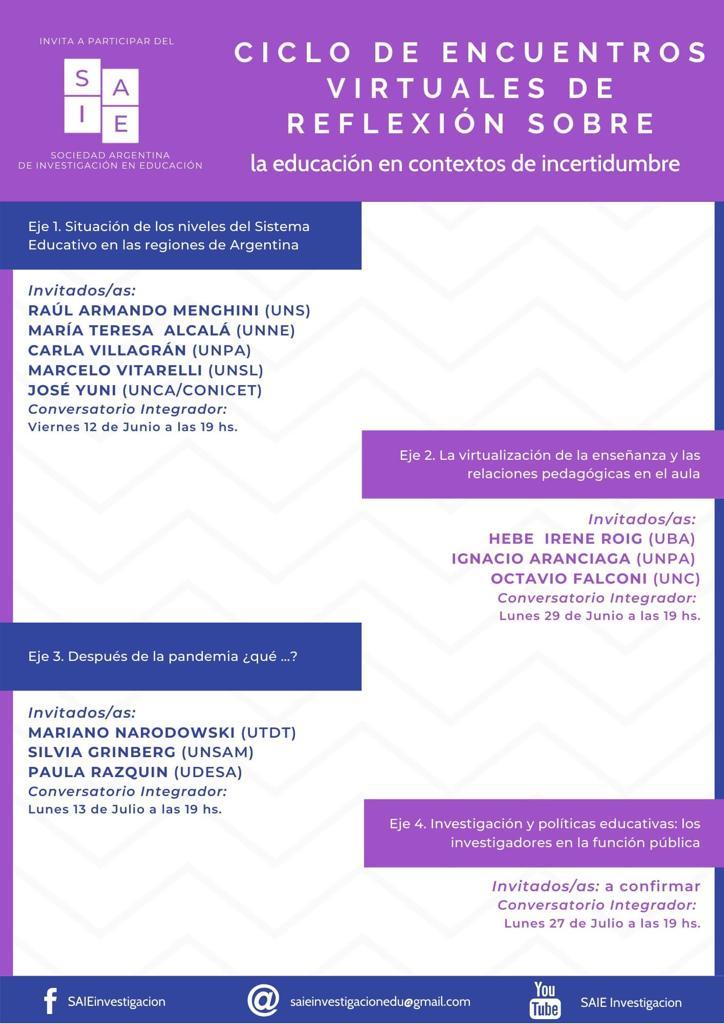 Ciclo de encuentros virtuales de reflexión sobre la educación en contextos de incertidumbre