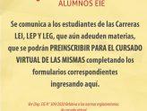 Preinscripción para el cursado virtual de materias