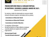 Segundo llamado a preinscripción para el cursado virtual de espacios curriculares - Marzo 2021