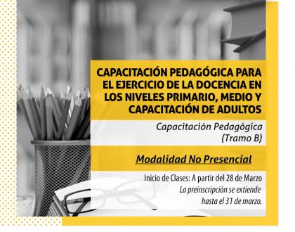 Inscriben a la Capacitación Pedagógica Modalidad No Presencial para Tramo B