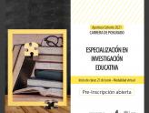 Pre-inscripción abierta a la Especialización en Investigación Educativa - Cohorte 2021