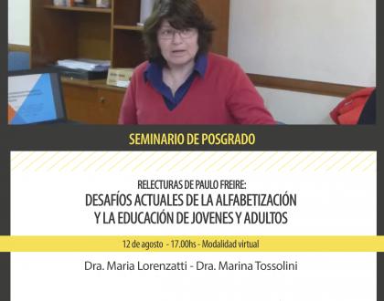 Seminario de Posgrado - Relecturas de Paulo Freire: Desafíos actuales de la alfabetización y la educación de jóvenes y adultos